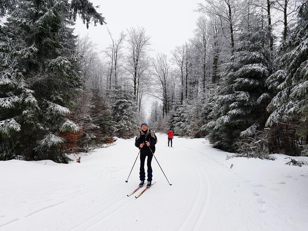 Auf dem Taufstein-Gletscher im Vogelsberg skifahren Skigebiet, Ski, Schnee, Skifahren in Vogelsberg, Hessen Deutschland,