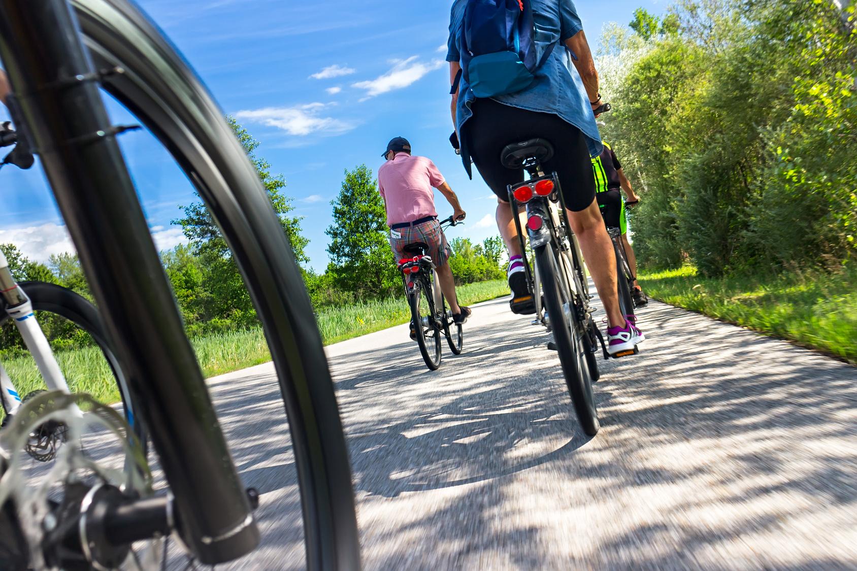 Radfahren auf dem Vulkanradweg im Vogelsberg, Hessen, Deutschland