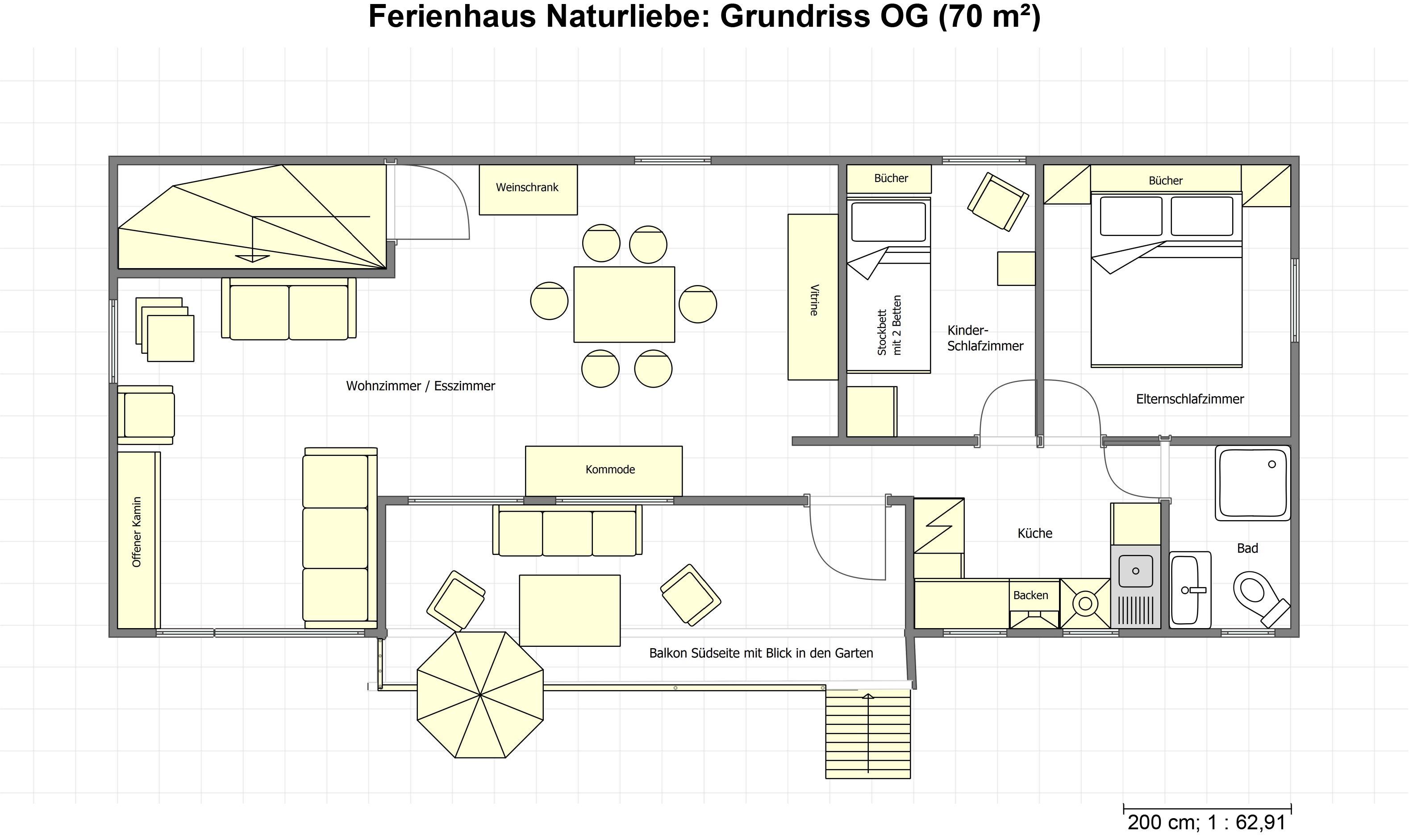 Grundriss Ferienhaus Naturliebe OG, Ferienhaus im Wald mit Hund mieten, Alleinlage, Ferienhaus natur