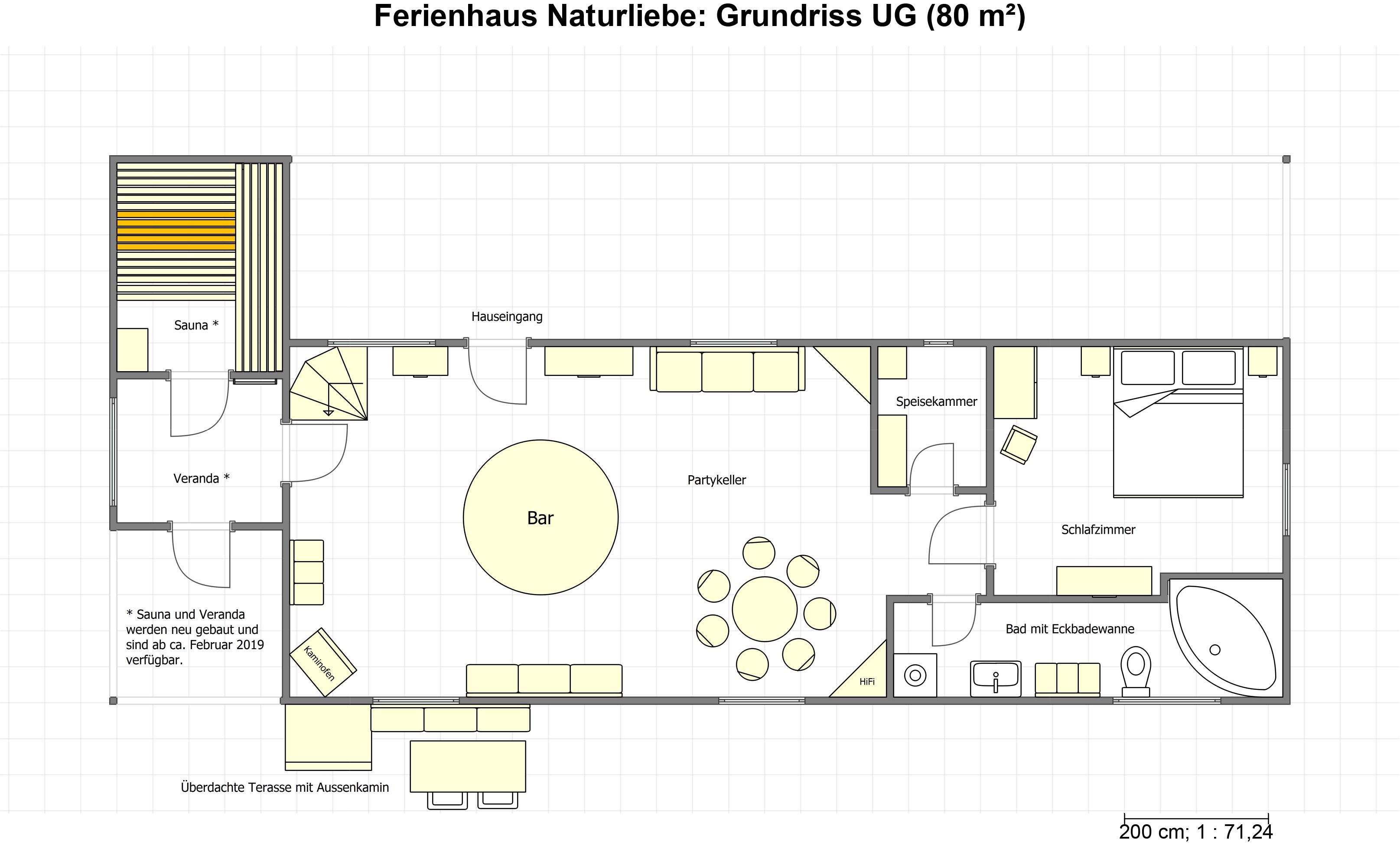 Grundriss Untergeschoß Ferienhaus Naturliebe Laubach, Schotten