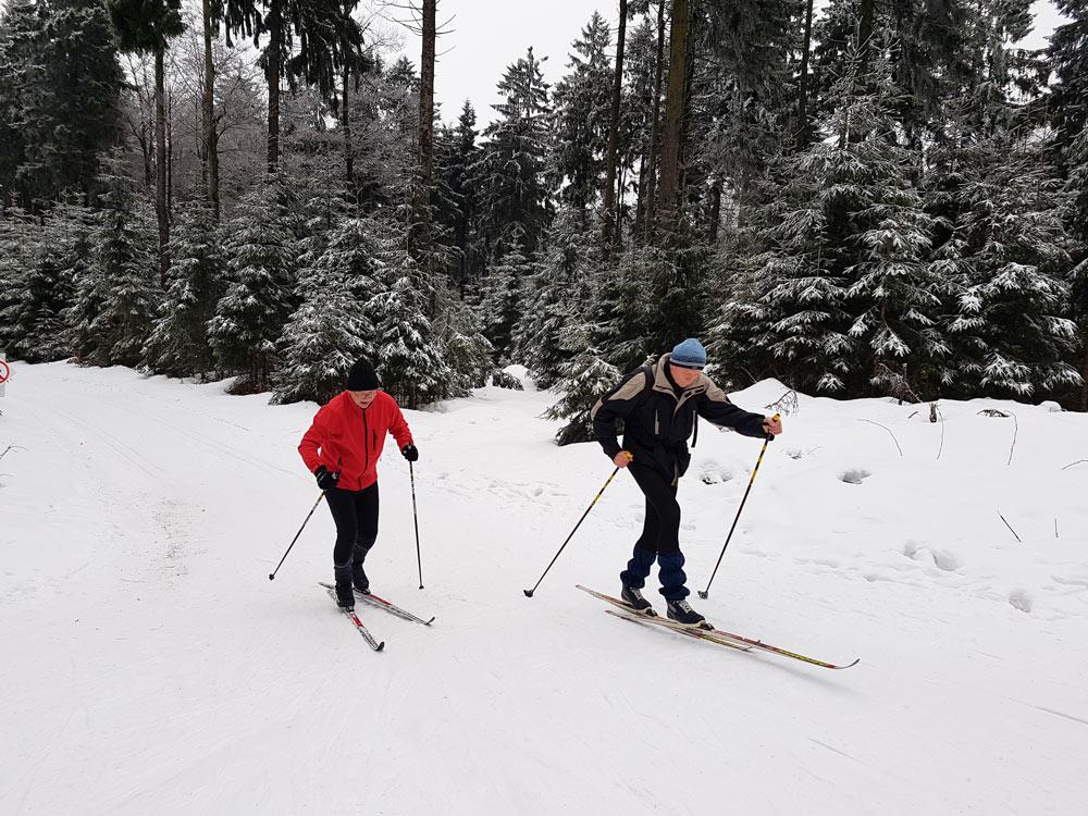 Hoherodskopf Skilanglauf Skigebiet, Ski, Schnee, Skifahren in Vogelsberg, Hessen Deutschland