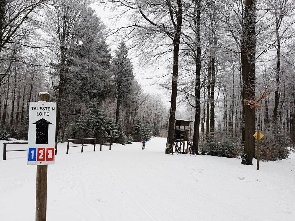 Skigebiet, Ski, Schnee, Skifahren in Vogelsberg, Hessen Deutschland Taufstein Loipe auf Hoherodskopf
